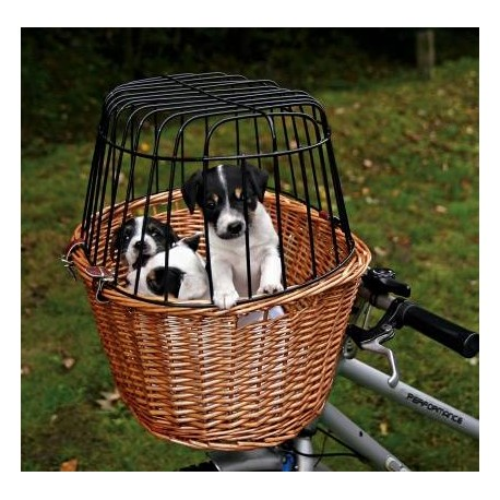 Cesta de mimbre para paseos en bicicleta con mascotas